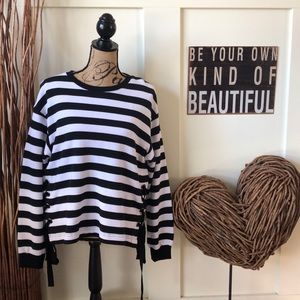 A•N•D black striped top with laced sides